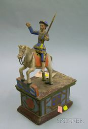 Wooden Santos Figure On Horseback On Painted Stand